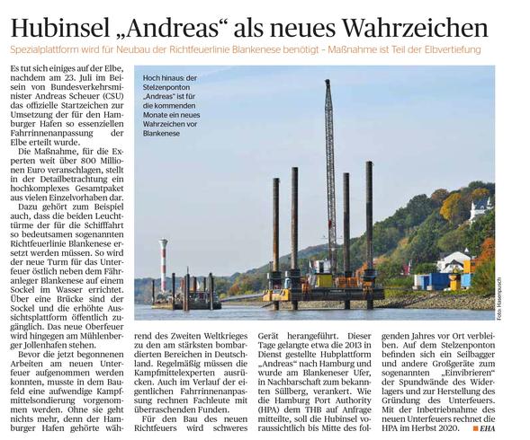 Hubinsel Andreas als neues Wahrzeichen